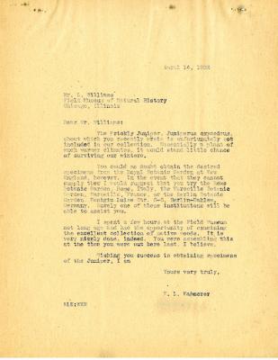 1933/04/14: E. L. Kammerer to L. Williams