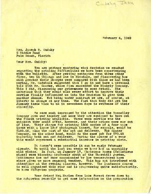1949/02/04: E. L. Kammerer to Jean Morton Cudahy