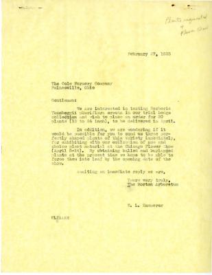 1935/02/27: E. L. Kammerer to the Cole Nursery Company