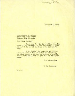 1949/11/04: E. L. Kammerer to Jean Morton Cudahy