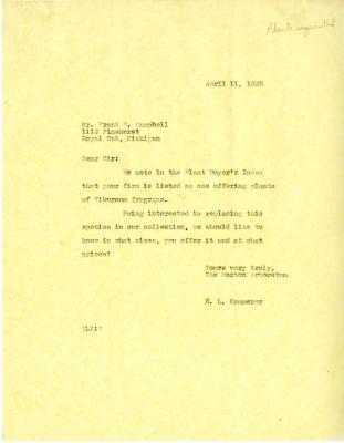 1935/04/11: E. L. Kammerer to Frank W. Campbell