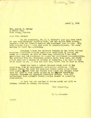 1949/04/01: E. L. Kammerer to Jean Morton Cudahy