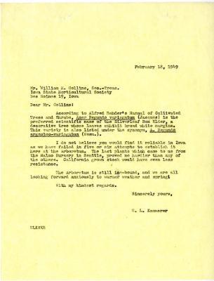 1949/02/18: E. L. Kammerer to William H. Collins