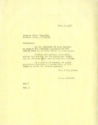 1936/10/08: E. L. Kammerer to the Downers Grove Reporter