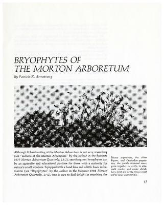 Bryophytes of The Morton Arboretum