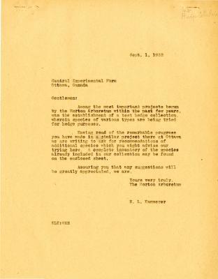 1932/09/01: E. L. Kammerer to Central Experimental Farm, Ottawa, Canada