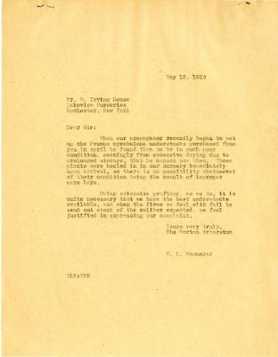 1932/05/13: E. L. Kammerer to B. Irving Rouse