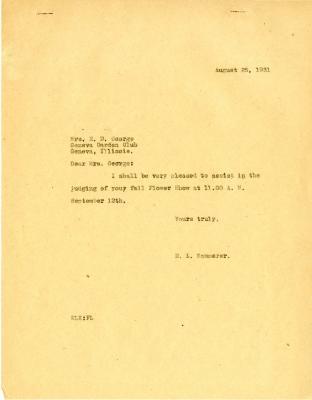 1931/08/25: E. L. Kammerer to Mrs. E. D. George