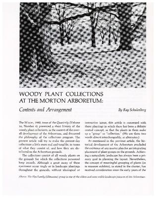Woody Plant Collections at the Morton Arboretum: Content and Arrangement