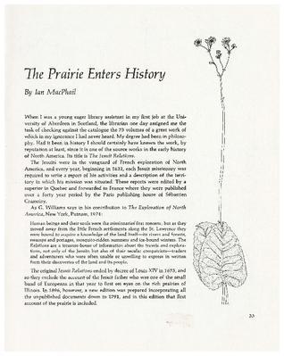 The Prairie Enters History