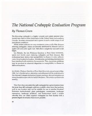 The National Crabapple Evaluation Program