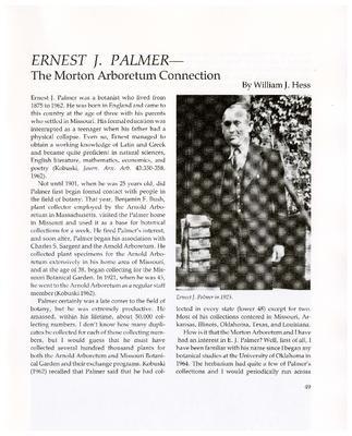 Ernest J. Palmer – The Morton Arboretum Connection