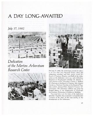A Day Long-Awaited: Dedication of the Morton Arboretum Research Center, July 17, 1982