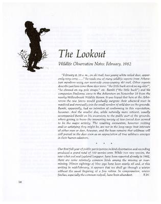 The Lookout: Wildlife Observation Notes: February 1982