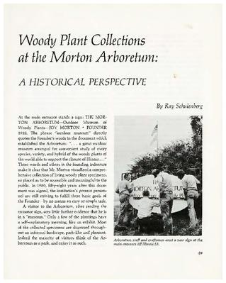 Woody Plant Collections at the Morton Arboretum: A Historical Perspective