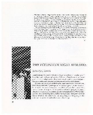 1989 Volunteer Night Remarks