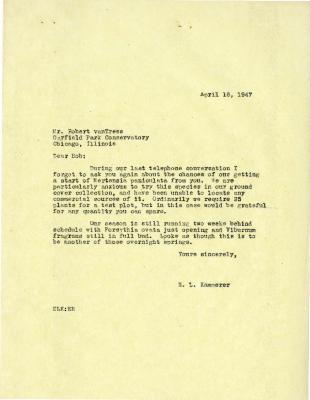 1947/04/16: E. L. Kammerer to Robert Van Tress