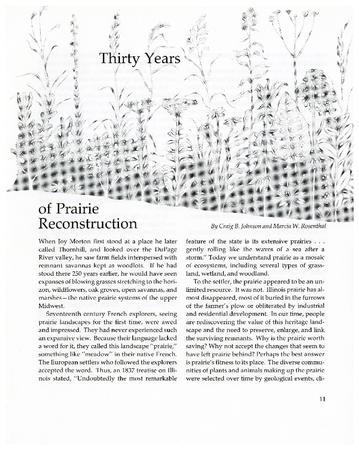 Thirty Years of Prairie Reconstruction