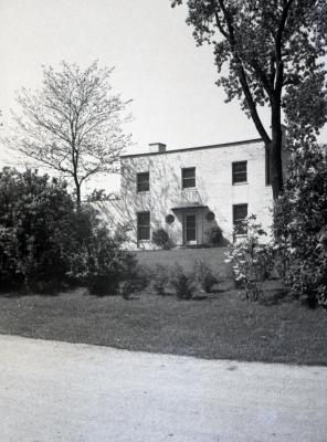 Clarence Godshalk's second Arboretum house and yard viewed across front drive