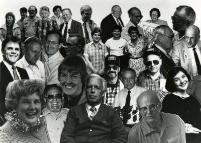 Marion Hall's retirement party - collage of employees