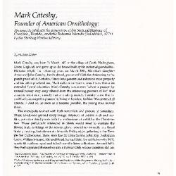 Mark Catesby, Founder of American Ornithology: An essay to celebrate the acquisition of his Natural History of Carolina, Florida and the Bahama Islands (3rd edition, 1771) by the Sterling Morton Library