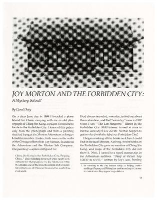 Joy Morton and the Forbidden City: A Mystery Solved?