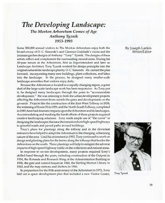 The Developing Landscape: The Morton Arboretum Comes of Age, Anthony Tyznik, 1953-1993