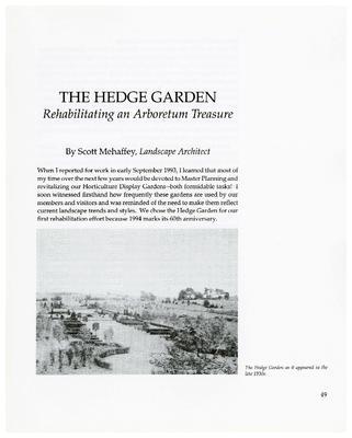 The Hedge Garden: Rehabilitating an Arboretum Treasure