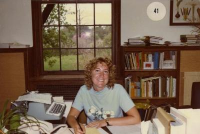 Karla Patterson at desk in office
