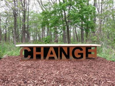 CHANGE bench in the maple (Acer) collection at The Morton Arboretum