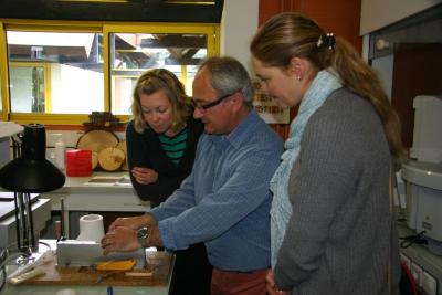 Nicole Cavender and Murphy Westwood observing lab equipment at the French National Institute for Agricultural Research