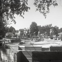 Construction for Cudahy and Rotunda addition to the Administration Building, men working