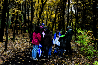 School group looking at leaves at The Morton Arboretum
