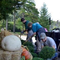 Grounds crew changing seasonal landscape displays at The Morton Arboretum