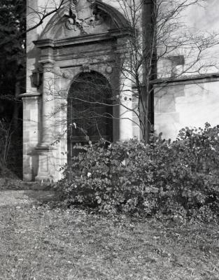 Thornhill Education Center, original ornate stone entrance and door on west side to library wing