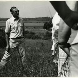 Ray Schulenberg speaking to class in prairie