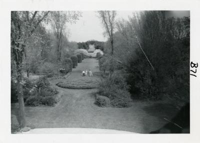 View of Four Columns and Arboretum visitors in Hedge Collection from atop Administration Building