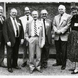 Sterling Morton Library 25th Anniversary, featured speaker with Arboretum staff and trustee in the May T. Watts Reading Garden