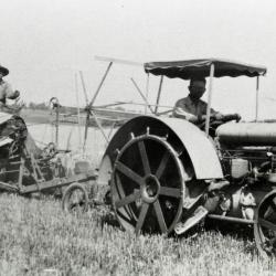 Arnold Berg Sr. on Arboretum's first tractor at Lisle Farms