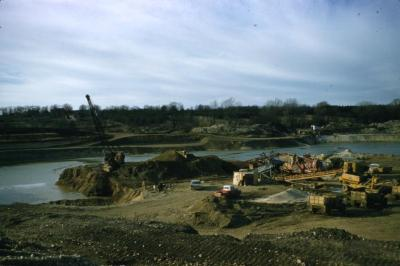 Distant view of Arbor Lake under construction
