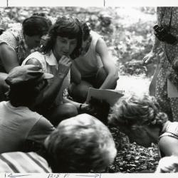 Pat Armstrong sitting with class in Schulenberg Prairie