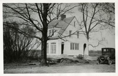 Clarence Godshalk's first home at the Arboretum, under construction