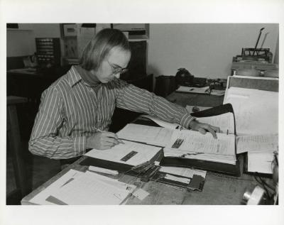 Chad Avery working at desk