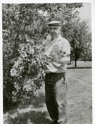 Roy Nordine outdoors holding branch of plant