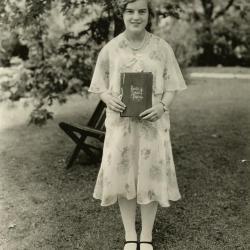 Catherine van Gemert holding public school diploma