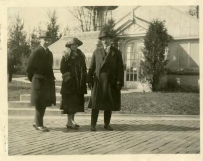 Joy Morton's children and nephew, in front of Thornhill residence greenhouse