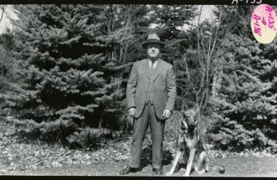 "Morton house man with Morton dog, ""K"""