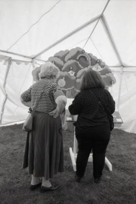 Arbor Day activities at The Morton Arboretum, two women playing Light Me Up game