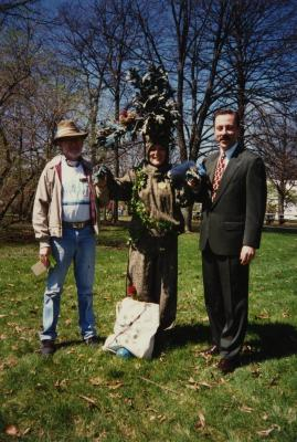 Arbor Day, Joe Larkin and Dr. Gerry Donnelly with Carolyn Finzer dressed as Morton Oak