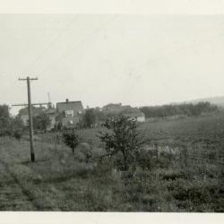 Looking north on Route 53 to Arboretum residential housing and South Farm, soon after Clarence Godshalk's first house was moved to South Farm and later to Arbordale
